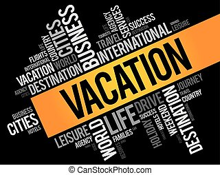 Vacation word cloud collage