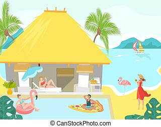 Vacationers at sea beach bungalow people sunbathing on tropical resort, vacation flat vector illustration.