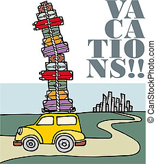 Vacations: a car running away from the city. - Illustration...