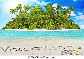 """""""vacations"""", dentro, isla, tropical, arena, inscripción, ..."""