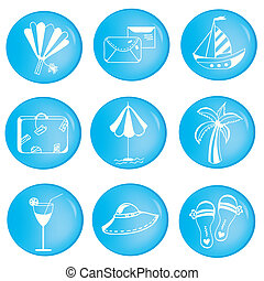 Vacations icons set with objects in cartoon style
