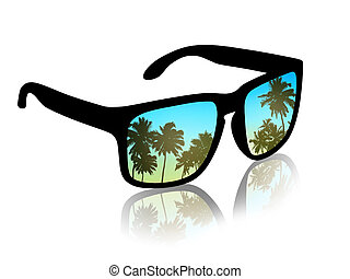 man's sun glasses with a reflection of a beautiful tropical landscape