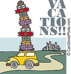 vacations:, lejos, city., corriente, coche