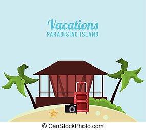 vacations paradisiac island hut suitcase camera vector...