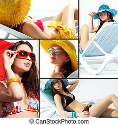 Vacations - Collage of a young lady enjoying her summer...
