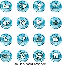 vacations, travel and tourism icons - A series of icons ...