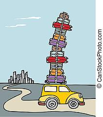 vacations:, un, coche, cargado, con, mucho, de, luggage.