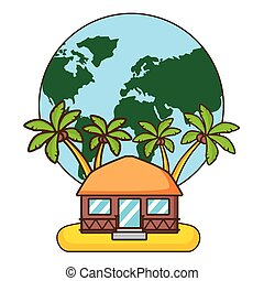 vacations world bungalow palms tree beach