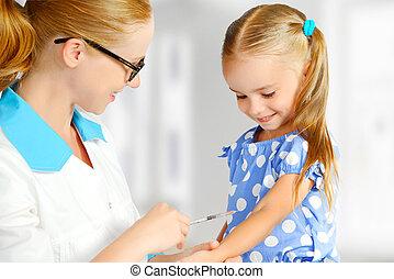 vacciné, docteur, pédiatre, enfant, marques