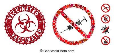 vacciné, gratté, mosaïque, non, timbre, injection, icône