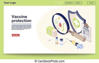 vaccin, vaccination, websida, mall, virus., arkivalier, skydd, app, injektionsspruta, gräns flat, begrepp, liten medicinflaska, illustration., websida, clinic., mobil, websajt, vektor, isometric, 3, design., immunisering