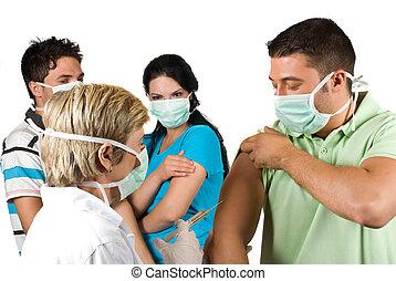 vaccinare, persone, dottore, gruppo