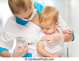 vaccination, bébé, injection, enfant, docteur