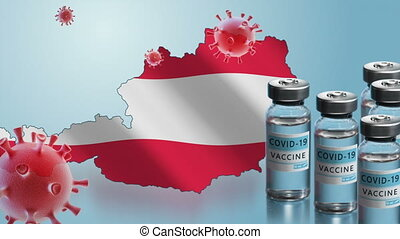 Austria to launch COVID-19 vaccination campaign. Coronavirus vaccine vials, Covid 19 cells, map and flag of Austria on blue background. Fighting the epidemic. Research and creation of a vaccine.