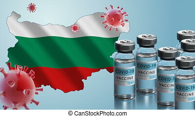 Bulgaria to launch COVID-19 vaccination campaign. Coronavirus vaccine vials, Covid 19 cells, map and flag of Bulgaria on blue background. Fighting the epidemic. Research and creation of a vaccine.