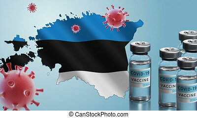 Estonia to launch COVID-19 vaccination campaign. Coronavirus vaccine vials, Covid 19 cells, map and flag of Estonia on blue background. Fighting the epidemic. Research and creation of a vaccine.