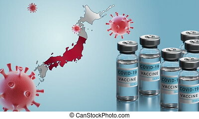 Japan to launch COVID-19 vaccination campaign. Coronavirus vaccine vials, Covid 19 cells, map and flag of Japan on blue background. Fighting the epidemic. Research and creation of a vaccine.