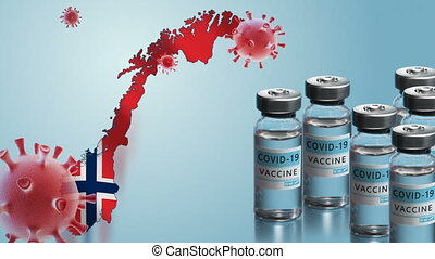 Norway to launch COVID-19 vaccination campaign. Coronavirus vaccine vials, Covid 19 cells, map and flag of Norway on blue background. Fighting the epidemic. Research and creation of a vaccine.
