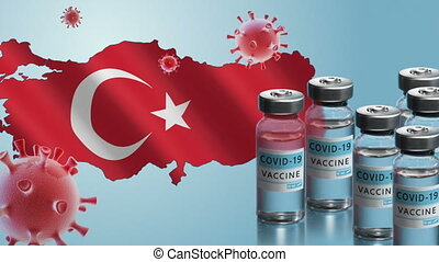 Turkey to launch COVID-19 vaccination campaign. Coronavirus vaccine vials, Covid 19 cells, map and flag of Turkey on blue background. Fighting the epidemic. Research and creation of a vaccine.