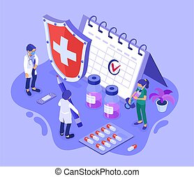 time to vaccinate isometric icons with syringe vaccine bottle calendar vaccination concept banner with doctor nurse in mask isolated vector illustration