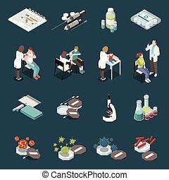vaccination, icônes, isométrique, ensemble