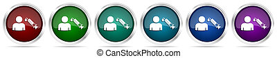 Vaccination icons, set of silver metallic glossy web buttons in 6 color options isolated on white background