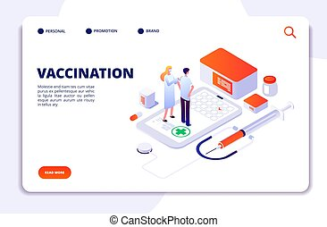Vaccination isometric concept. Flu prevention child healthcare. Adult and kids immunization, flu injection shot vector landing page