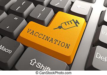 vaccination, orange, button., clavier