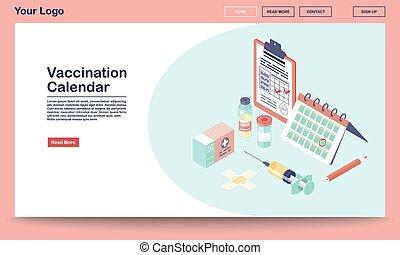 vaccination, websida, mall, sjukdomar, hepatit, app, services., gräns flat, begrepp, influensa, illustration., websida, mobil, websajt, kalender, vektor, isometric, 3, design., immunisering, prevention.