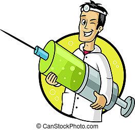 Vaccine - Cool doctor holding big syringe vector cartoon ...
