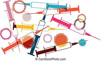 vaccine design.eps - Syringes and viruses vector ...
