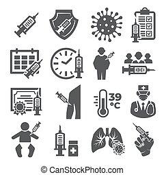 Vaccine Icons set on white background