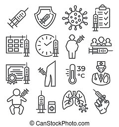 Vaccine Line Icons set on white background