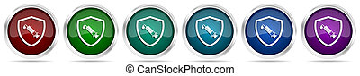 Vaccine shield concept icons, set of silver metallic glossy web buttons in 6 color options isolated on white background