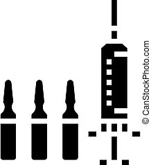 vaccine syringe glyph icon vector black illustration