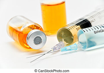 Vaccine with hypodermic syringe and needle