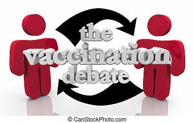 vacciner, vaccination, illustration, débat, sécurité, santé,...