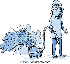 Vaccum Accident - A woman watches as her vacuum cleaner...