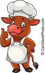 vache, abandon, chef cuistot, pouces, dessin animé, heureux