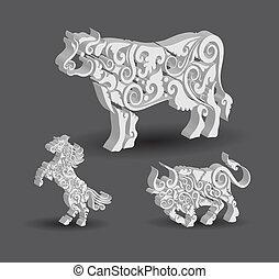 vache, cheval, décorations, taureau