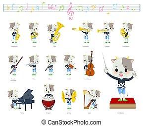 vache, classique, garçon, musique, animal