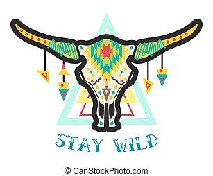 vache, crâne,  boho, Américain,  Style, indigène