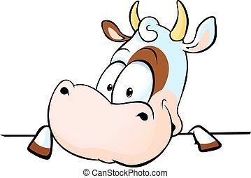 vache, derrière, s, jette coup oeil, blanc dehors