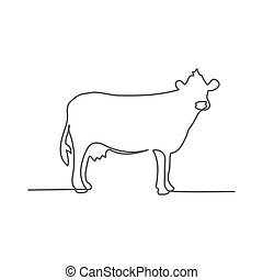 vache, dessin, fond, ligne, une, blanc