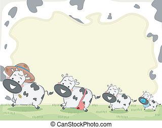 vache, famille, fond