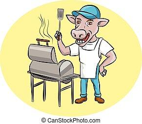 vache, fumeur, chef cuistot, ovale, barbecue, dessin animé