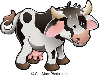 vache, illustration, mignon, vecteur, laitage
