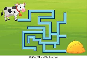 vache, jeu, manière, labyrinthe, meule foin, trouver