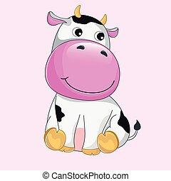 vache, mignon, illustration, vecteur, rigolote, baby., main, dessiné