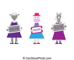 vache, mouton, mignon, garder, animaux ferme, dessin animé, plaque., illustration, plat, wellcome, style., vecteur, caractères, ensemble, horse.